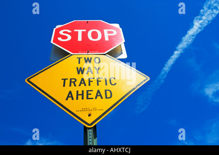Low angle view of street sign - Stock Photo