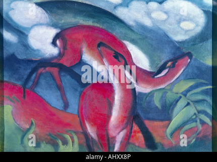 'fine arts - Marc, Franz (1880 - 1916), painting, 'Rote Rehe II', ('red deers II), 1912, Franz Marc museum, Kochel, historic,