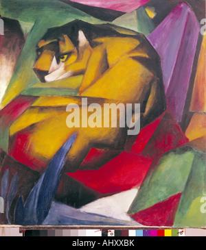 'fine arts, Marc, Franz, (1880 - 1916), painting, 'Der Tiger', ('the tiger'), 1912, oil on canvas, 111 cm x 111,5 cm, munici