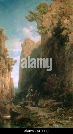 'fine arts, Spitzweg, Carl (1808 - 1885), painting, 'Escape to Egypt', Kurpfälzisches Museum, Heidelberg, Germany, - Stock Photo