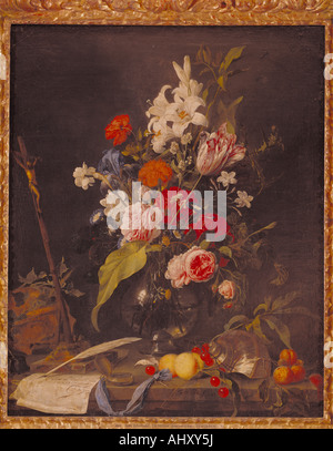 'fine arts, Heem, Jan Davidsz de, (1606 - 1684), painting, 'flower still life with crucifix and skull', circa 1630, - Stock Photo