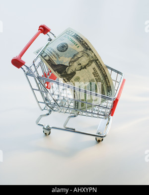 Computer mouse and money in shopping cart