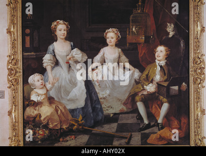 'fine arts, Hogarth, William, (1697 - 1764), painting, 'the Graham children', 1742, oil on canvas, 160,5 cm x 181 - Stock Photo