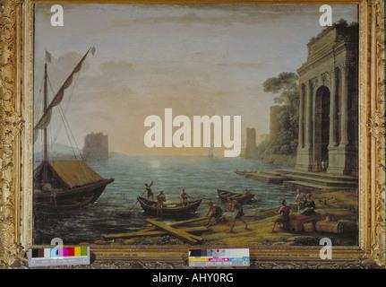 'fine arts, Lorrain, Claude, (1600 - 1682), painting 'sea harbour at sunrise', 1674, oil on canvas, 72 x 96 cm, - Stock Photo