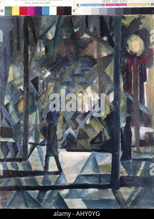 'fine arts, Macke, August, (1887 - 1914), painting, 'Abend', ('evening'), private property, historic, historical, - Stock Photo