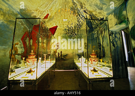 The rotunda with the four elements painting by Gerard garouste water earth air wind fire in a tent decoration showing - Stock Photo