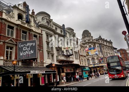 Lyric Apollo and Gielgud theatres on Shaftesbury Avenue London - Stock Photo