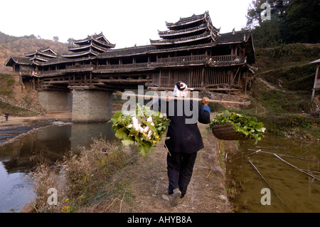 A Dong minority woman carries vegetables towards a wind and rain bridge in Sanjiang Guangxi Province in China 2005 - Stock Photo