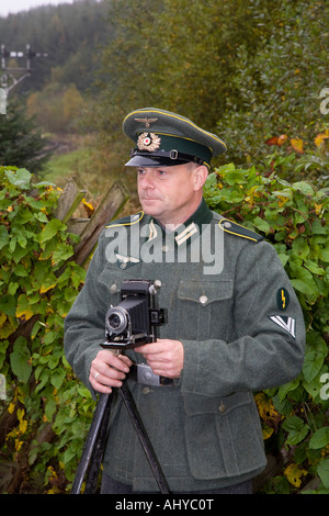 1940 Wartime army man. Nazis  WW2 Costumed German Soldier in uniform at the Wartime WEEKEND on the North Yorkshire - Stock Photo