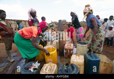Clean water source Somali refugee camp - Stock Photo