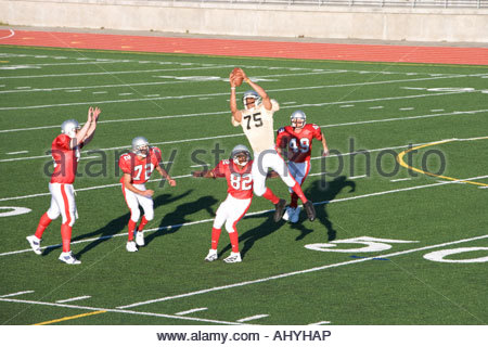 Opposing American football players competing for ball during competitive game, offensive receiver catching ball - Stock Photo