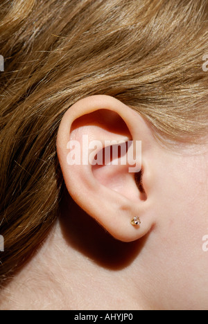 Human ear close up. Outer ear, pinna - Stock Photo