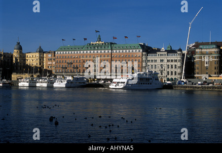 Grand Hotel Stockholm Sweden on a sunny spring afternoon - Stock Photo