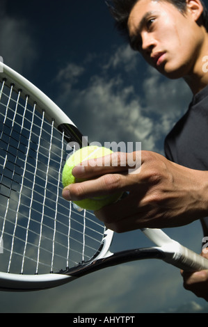 Close up of tennis player - Stock Photo