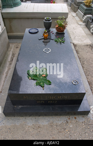 Grave of Marcel Proust at the Pere Lachaise Cemetery Paris France - Stock Photo