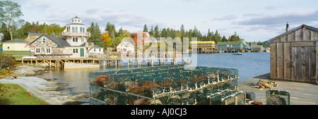 Lobster Village in Autumn Southwest Harbor Stonington Maine - Stock Photo