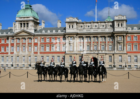 Changing of the Guard ceremony Performed daily on Horse Guards Parade London England - Stock Photo
