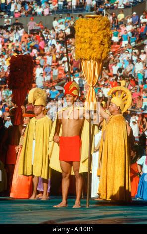 Hawaiian natives performing customary celebration at the Unity Day celebration Ho Olokahi HI - Stock Photo