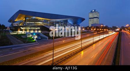 Bavaria Munich BMW World New distribution center near BMW administration tower and BMW museum - Stock Photo