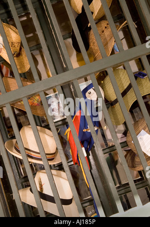 Panama Hats Displayed for Sale on St George Street in St Augustine Florida - Stock Photo