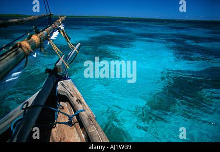 Crystal clear waters between Mafia and Chole island en route to the ruins of Kua on Joani island South of Zanzibar - Stock Photo