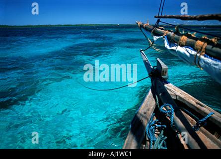 Crystal clear waters between Mafia Island and Chole island en route to the ruins of Kua on Joani island S of Zanzibar - Stock Photo