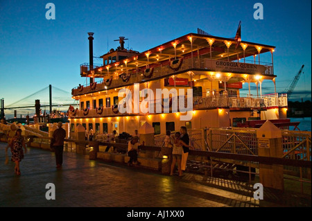 Georgia Queen paddle boat at twilight at dock side port of Savannah Georgia United States of America - Stock Photo