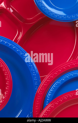 Plastic Plates Detail Red Blue Disposable - Stock Photo