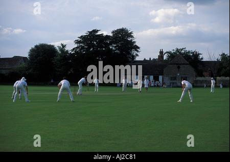 Village cricket match, Lacock,  Wiltshire, England, UK - Stock Photo