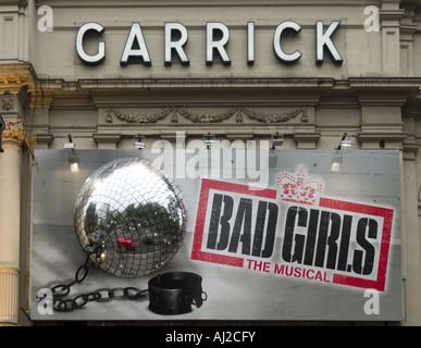 Sign For Bad Girls The Musical At The Garrick Theatre London - Stock Photo