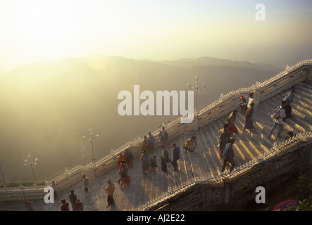 Stairway to the Buddhist pilgrimage site Golden Rock Kyaiktiyo Paya in Myanmar. - Stock Photo