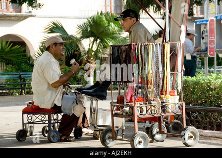Shoe Shone Stall, Merida, Mexico 2007 - Stock Photo