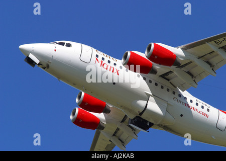 Euro Manx Bae 146 regional airliner from the Isle of Man taking off - Stock Photo