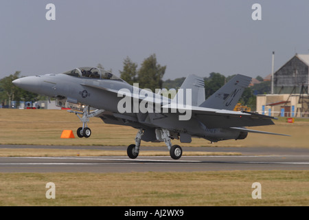 Boeing F-18F Hornet fighter attack military aircraft of the US Navy landing summer 2006 - Stock Photo