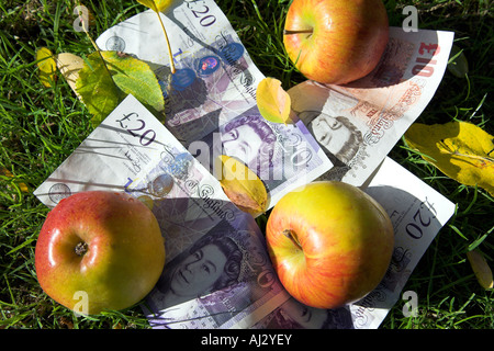 Autumn windfall of apples and banknotes. - Stock Photo