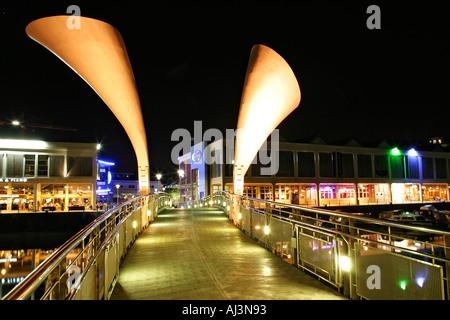 Pero bridge at night in Bristol City centre over Bristol docks England UK - Stock Photo