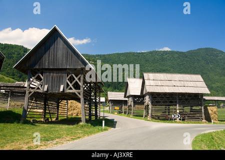 Unique hay-drying barns in the scenic Bohinj region of ...