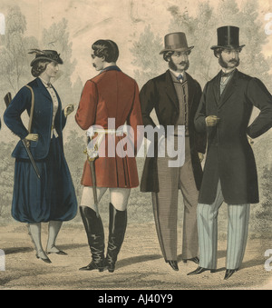 French handcoloured fashion plate showing shooting costume 1860 - Stock Photo