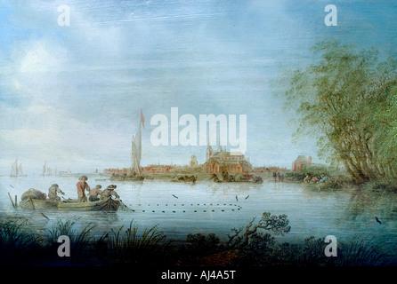 Salomon Jacobsz van Ruysdael 1600 - 1670  River Scene near Deventer 1641 Netherlands - Stock Photo