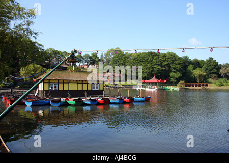 Peasholm park boating lake on the north side pictured in the resort of Scarborough in North Yorkshire in England.