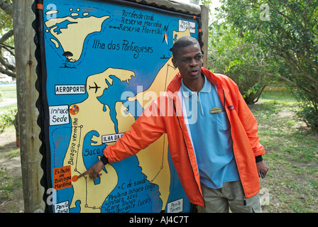 Tourist guide at Inhaca island near Maputo Mozambique Africa - Stock Photo