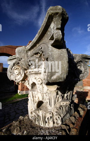 Capital Of Roman Corinthian Column, Ostia Antica, Italy - Stock Photo