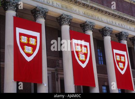 USA Cambridge Massachusetts Mass Harvard Yard Harvard University Widener Memorial Library Harvard Banners - Stock Photo