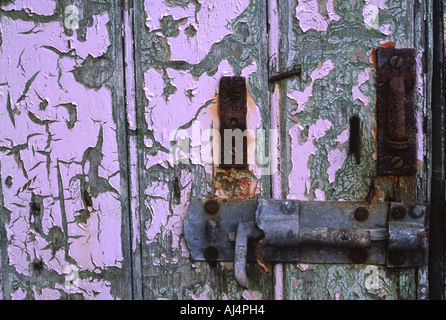The weather leaves its mark on the door of a derelict shieling, Isle of Lewis, Outer Hebrides - Stock Photo
