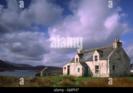 Derelict house near Arivruach on the Isle of Lewis, Outer Hebrides of Scotland - Stock Photo