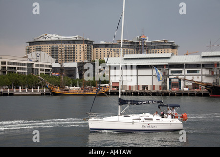Sydney by Sail sailing boat yacht in Darling Harbour Sydney New South Wales NSW Australia - Stock Photo