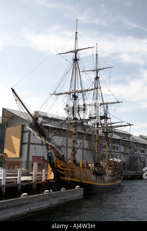 Wooden sailing ship in Darling Harbour in Sydney New South Wales NSW Australia - Stock Photo