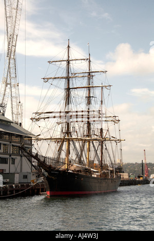 James Craig sailing ship in Darling Harbour in Sydney New South Wales NSW Australia - Stock Photo