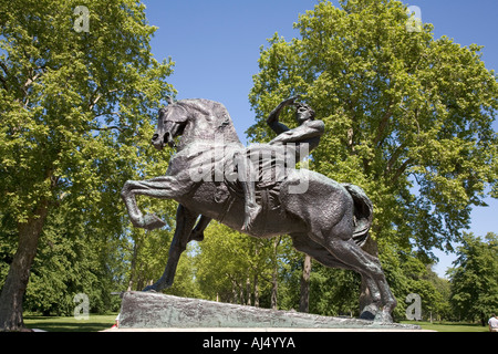 Physical Energy an equestrian statue by George Frederick Watts in Kensington Gardens London England - Stock Photo