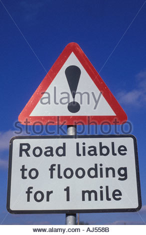 Road liable to flooding warning sign Yorkshire UK - Stock Photo